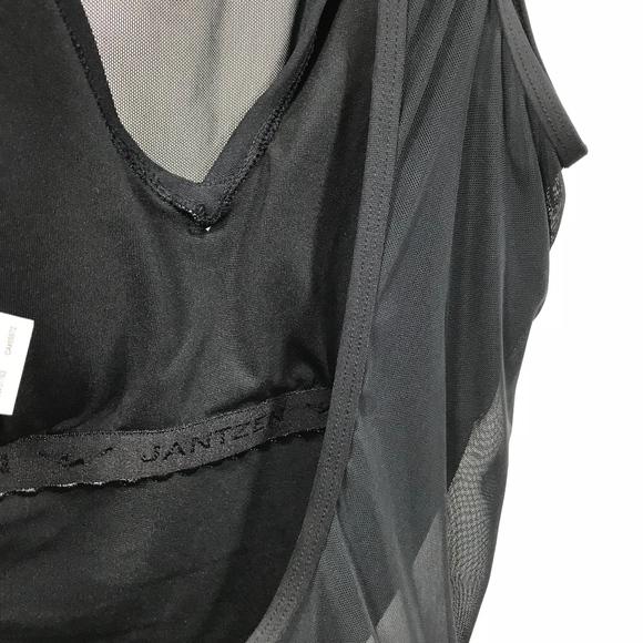 68d327a7933 Jantzen Swim   Black Mesh Solid High Neck Tummy Control Onepiece ...